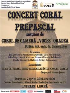 "Concert Coral Prepascal susținut de Corul ""Voces"""